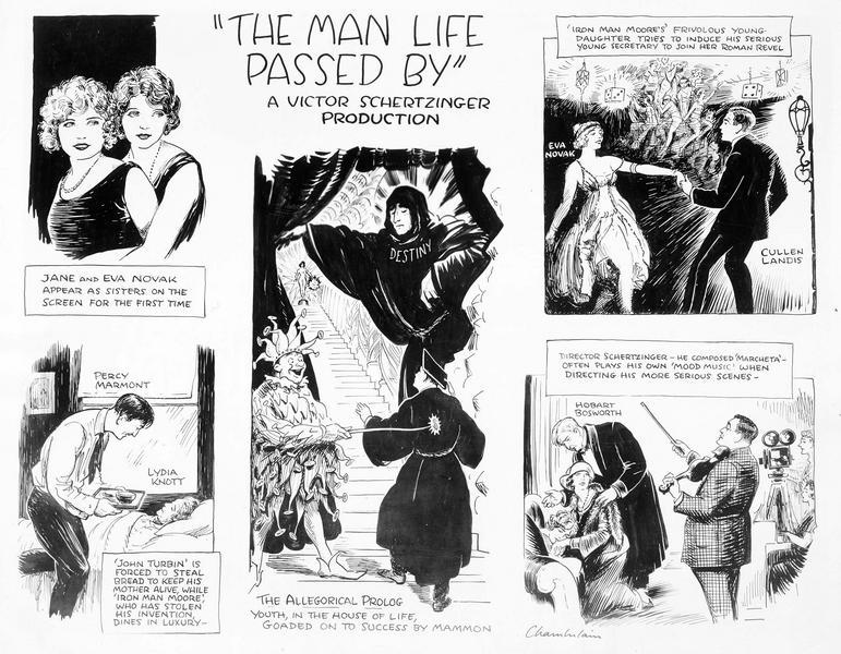 Bande dessinée présentant le film 'The Man Life Passed By'