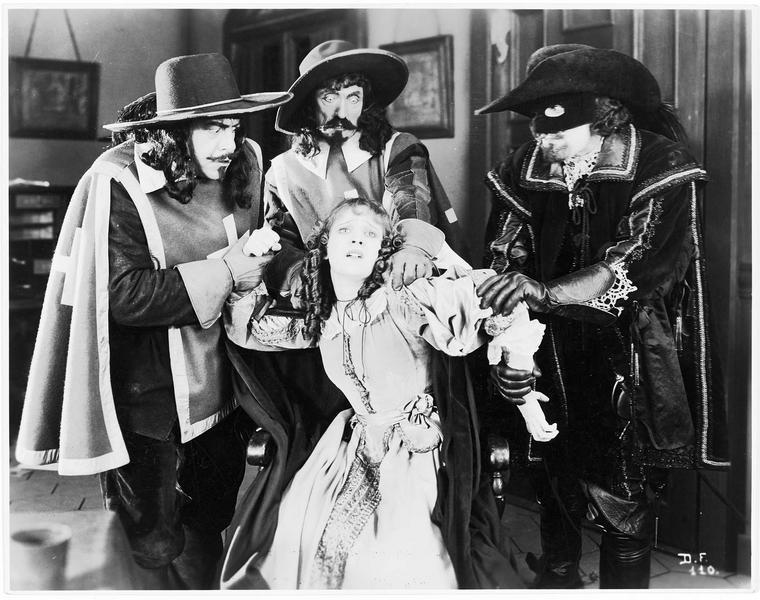 Constance Bonacieux (M. de la Motte) attrapée par les trois mousquetaires