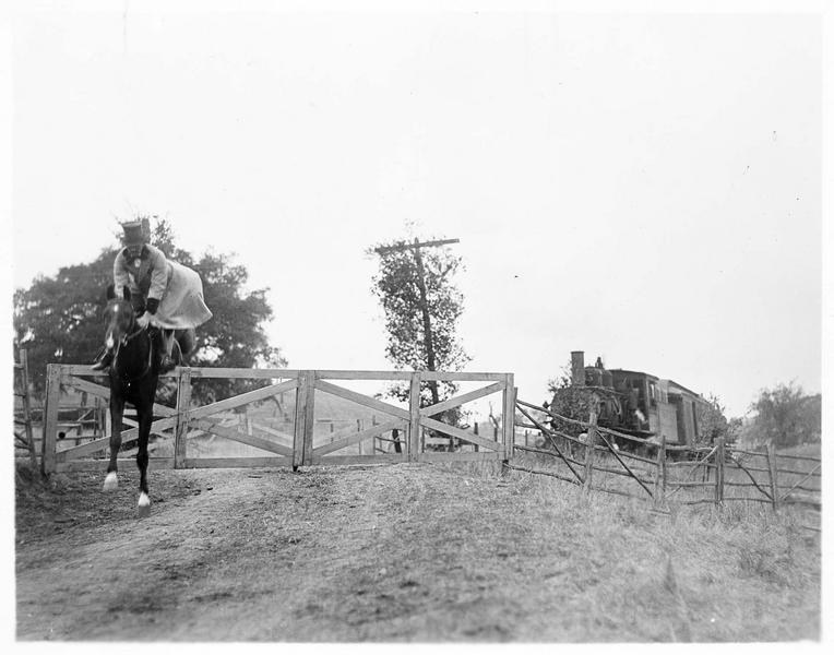 Un cheval et son cavalier sautant par-dessus une barrière