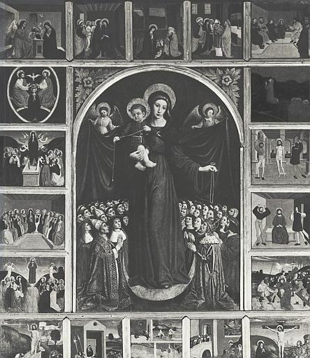 Retable, tableaux (19) : Vierge de Miséricorde (la), scènes de la Passion du Christ