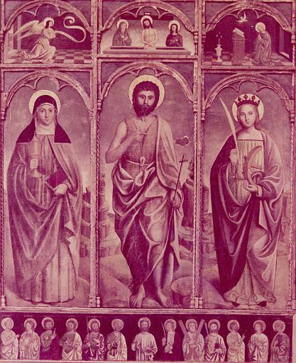 Retable, tableaux : saint Jean Baptiste entouré de sainte Claire et sainte Catherine ; prédelle : Christ et les apôtres