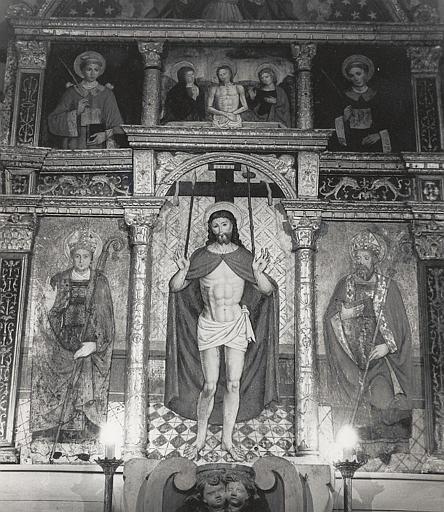 Autel, retable, tableaux (7) (maître-autel) : Christ aux cinq plaies (le), saint Martin, saint Nicolas de Bari, Christ de Pitié, saint Laurent, saint Etienne, père éternel (le)