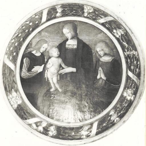 Tableau, cadre : Vierge à l'Enfant entre deux anges (la)