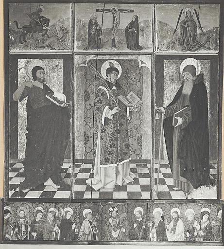 Retable, tableaux : saint Jean Baptiste, saint Etienne et saint Antoine ermite entourés d'autres saints