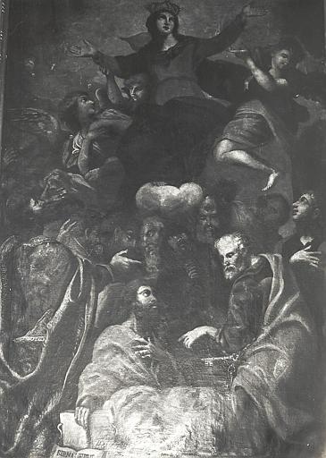 Retable, tableau : Assomption de la Vierge (l'), détail de l'inscription