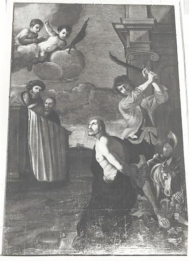 2 tableaux, 2 cadres : la Prédication de saint Antonin, le Martyre de saint Antonin
