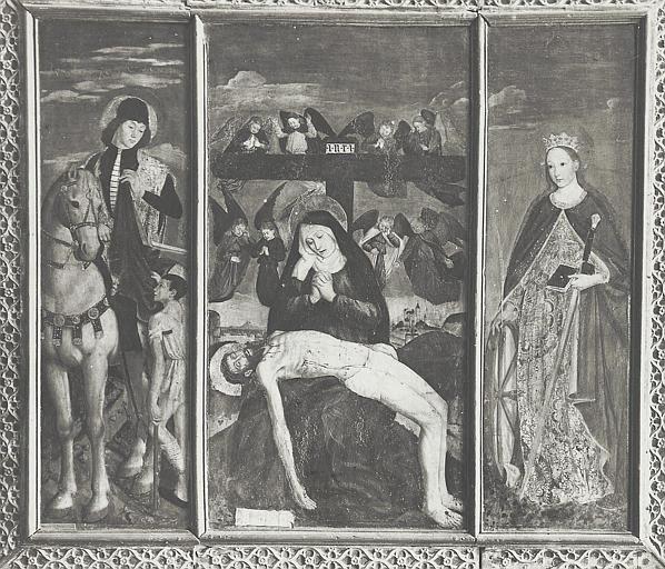 Retable, tableaux (3) : Vierge de Pitié (la), saint Martin, sainte Catherine d'Alexandrie