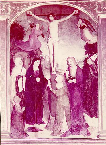 Retable de la chapelle de la Crucifixion : Les sainte femmes au pied de la croix, 6 chandeliers, 3 canons d'autel