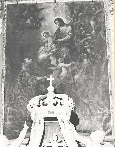 Tableau : Saint Grégoire le Grand intercédant auprès de la Vierge et l'Enfant-Jésus pour les Ames du Purgatoire