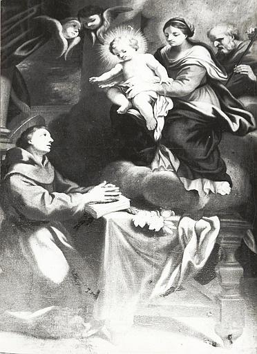 Tableau, cadre : la Vierge présentant l'Enfant Jésus à saint Antoine de Padoue