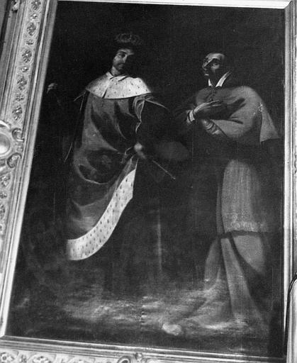 Tableau, cadre : Saint Louis et saint Charles Borromée