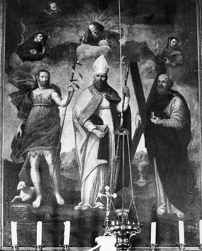 Tableau : saint Eloi entre saint Jean Baptiste et saint André