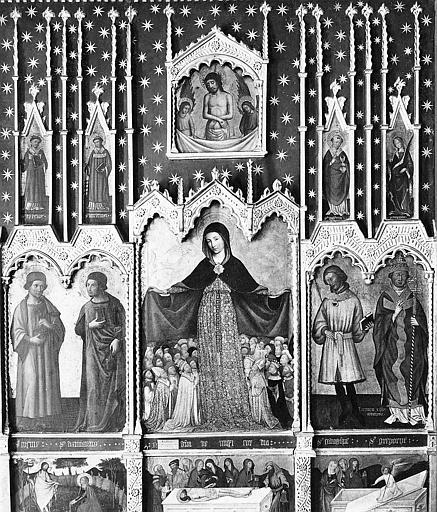Retable, tableaux (11) : Vierge de Miséricorde entourée de saints (la)