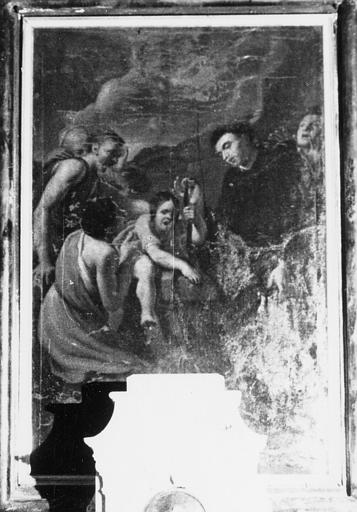 Tableau de la chapelle des fonts baptismaux : saint Augustin présentant la ceinture de la Vierge à des malades