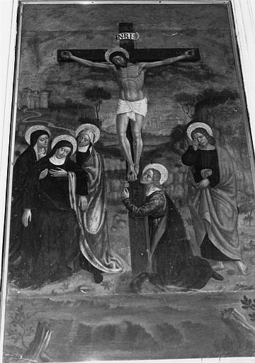 Autel, retable, 3 gradins, tableau : la Crucifixion