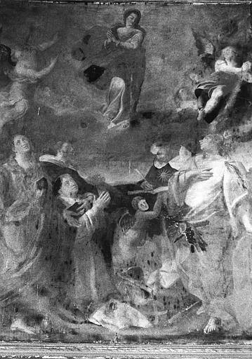 Tableau, cadre : la Vierge en gloire entourée de sainte Catherine d'Alexandrie, saint Dominique, saint Thomas d'Aquin et sainte Marie-Madeleine, avec un portrait du donateur