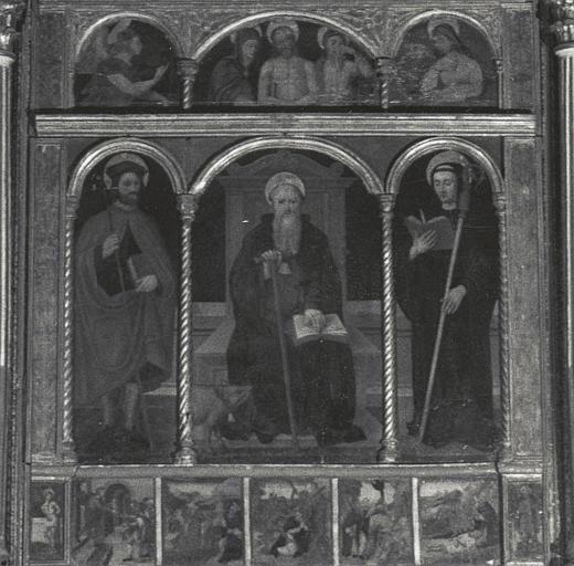 Retable, tableaux : saint Joseph, saint Antoine abbé et saint Maur, scènes de la vie de saint Antoine