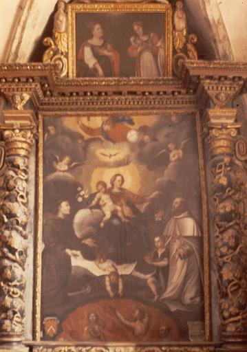 Tableau : Saint Jean de Matha et saint Antoine de Padoue intercédant auprès de la Vierge pour les âmes du Purgatoire, tableau secondaire au sommet du précédent : sainte Catherine d'Alexandrie et sainte Agnès