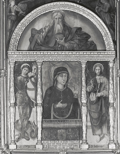 Retable, tableaux : Vierge, saint Georges, saint Barthélémy, Dieu le Père