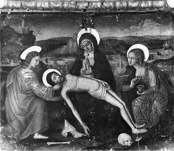Retable, tableaux (3) : Vierge de Pitié, entre saint Jean et sainte Madeleine, sainte Catherine et saint Nicolas