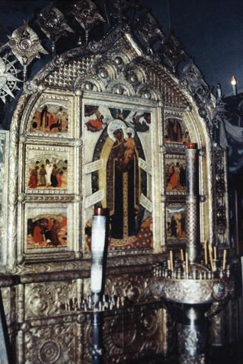Icône de la Mère de Dieu, Secours des Affligés, avec ses six panneaux latéraux, son piétement et son encadrement
