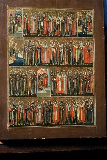 calendrier liturgique : six icônes figurant les saints de chacun des six premiers mois de l'année (de janvier à juin)