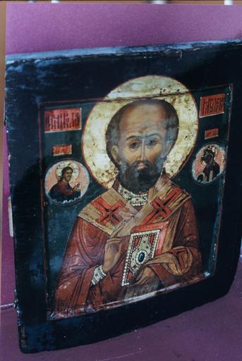 Icône : saint Nicolas en buste avec le Sauveur et la Mère de Dieu en médaillons