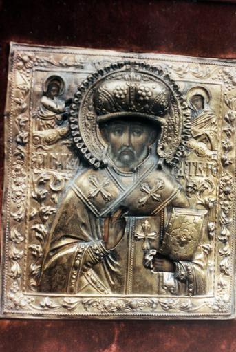 icône : saint Nicolas le Thaumaturge avec le Sauveur et la Mère de Dieu