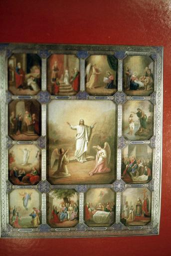 icône : La Résurrection du Christ entourée des Douze Fêtes de l'année