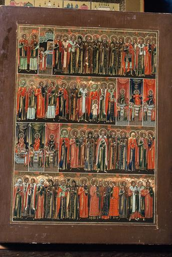 Calendrier liturgique : six icônes représentant les saints de chaque mois de Juillet à Décembre