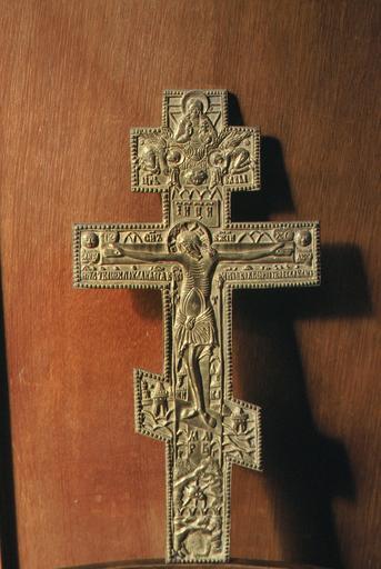 Croix avec figuration de la Crucifixion, du Viage du Sauveur non créé-de-main-d'homme