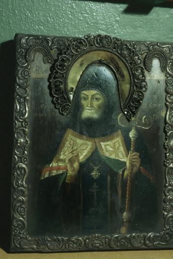 Icône : saint Mitrophane de Voronège, avec figures du Sauveur et de la Mère de Dieu