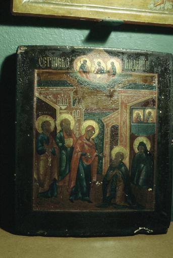 icône : Apparation de la Mère de Dieu à saint Serge (Vision de saint Serge) avec la Sainte Trinité, les Saints Apôtres Pierre et Jean, la Vierge Marie, saint Serge de Radonège et saint Michée