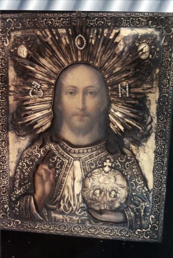 Icône : Le Sauveur Tout Puissant tenant l'orbe dans sa main gauche
