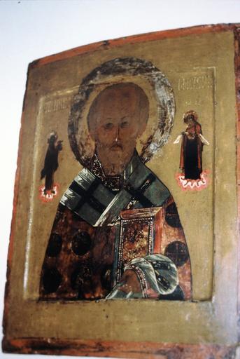 icône : saint Nicolas le Thaumaturge avec figuration du Christ et de la Vierge Marie, en pied