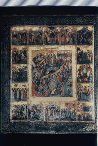 icône : Le Christ ressuscité descendant aux Enfers, entouré des douze grandes fêtes de l'année