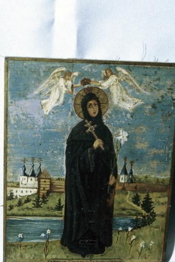 Icône : sainte Euphrosine avec deux anges