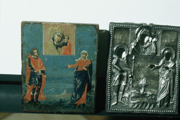 Icône : La Mère de Dieu de Kazan avec saint Jean le Guerrier et sainte Marie-Madeleine