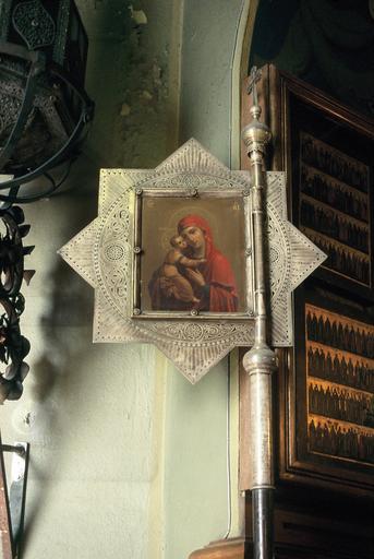 Bannière étoilée : La Vierge du Don, argent et peinture sur panneau de métail