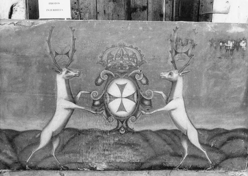 Tableau : emblème de l'ordre des Trinitaires, ancien ciel de baldaquin ou élément de décor