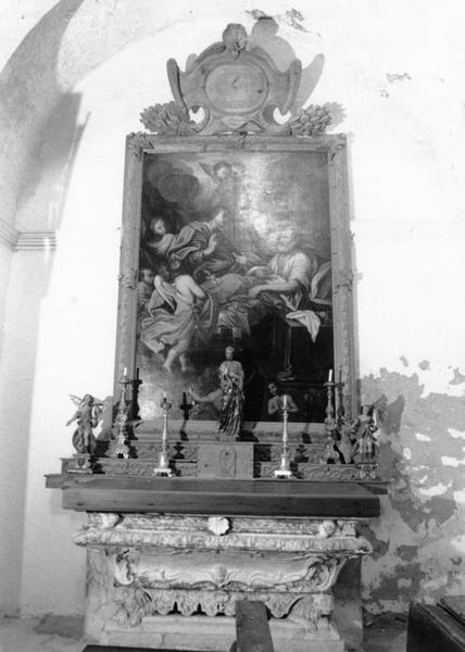 Gradins d'autel et retable avec le tableau : Mort de saint Joseph