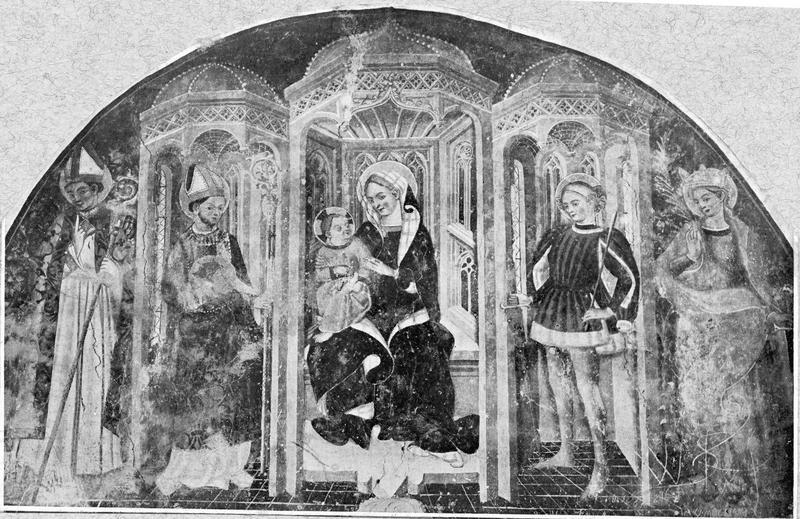 peintures monumentales : la Vierge à l'Enfant et plusieurs saints, vue partielle