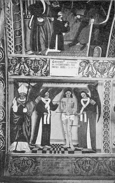 peintures monumentales : la Crucifixion, Vierge de Pitié, scènes de la vie de saint Sébastien, vices et les vertus (les), détail