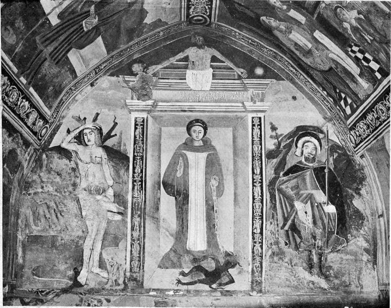 peintures monumentales : Scènes de la vie de saint Sébastien et de saint Bernard, vue partielle