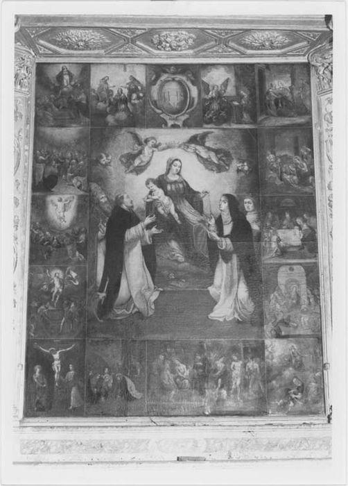 Tableau : la Vierge remettant le rosaire à saint Dominique et sainte Catherine de Sienne et scènes de la vie du Christ