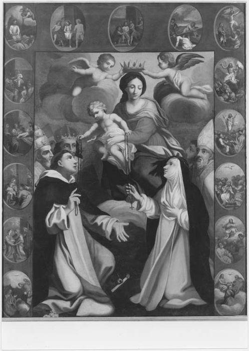Tableau et son cadre : Donation et mystères du Rosaire