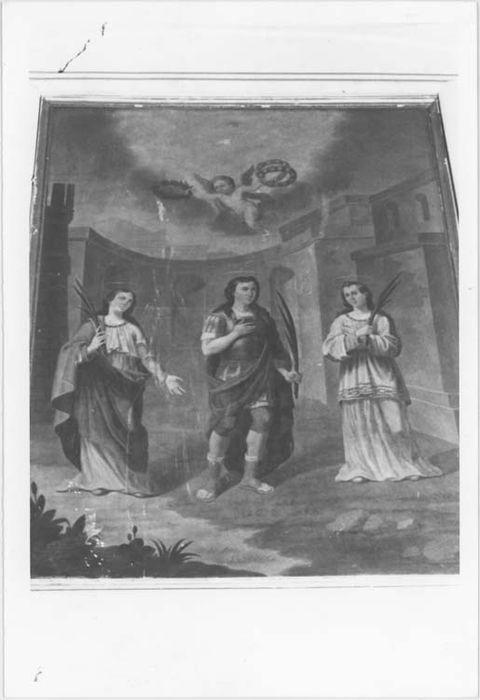 Tableau : saint Géminien entre sainte Saturnine et sainte Valentia