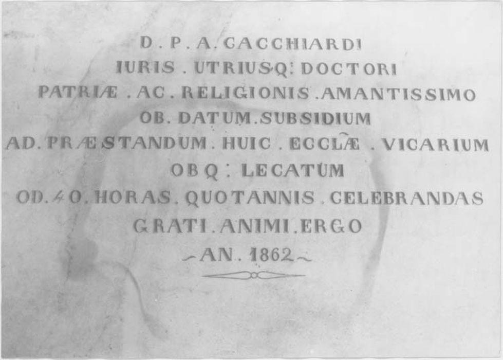 Plaque commémorative de fondation pieuse