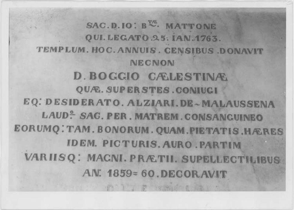 Plaque commémorative des travaux d'ornementation de l'église