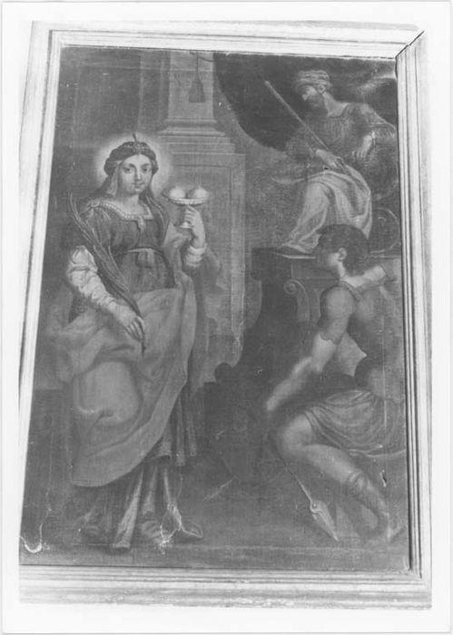 Tableau et son cadre : sainte Agathe martyre